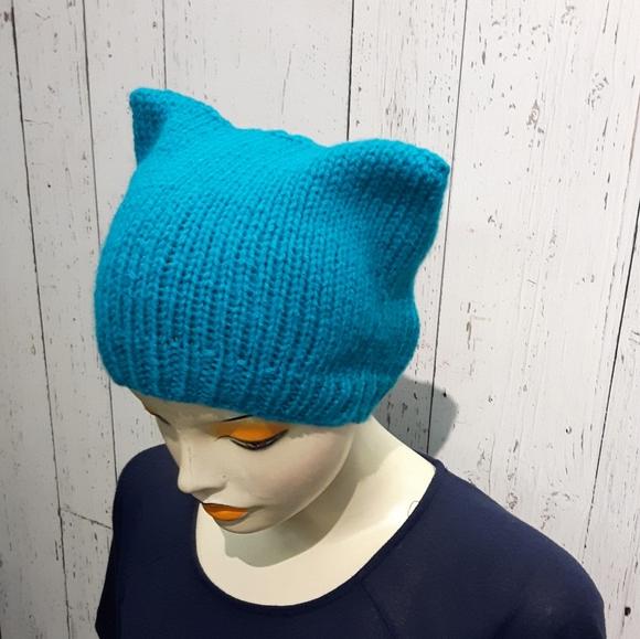 ⭐2/35$⭐Handknit cat hat turquoise